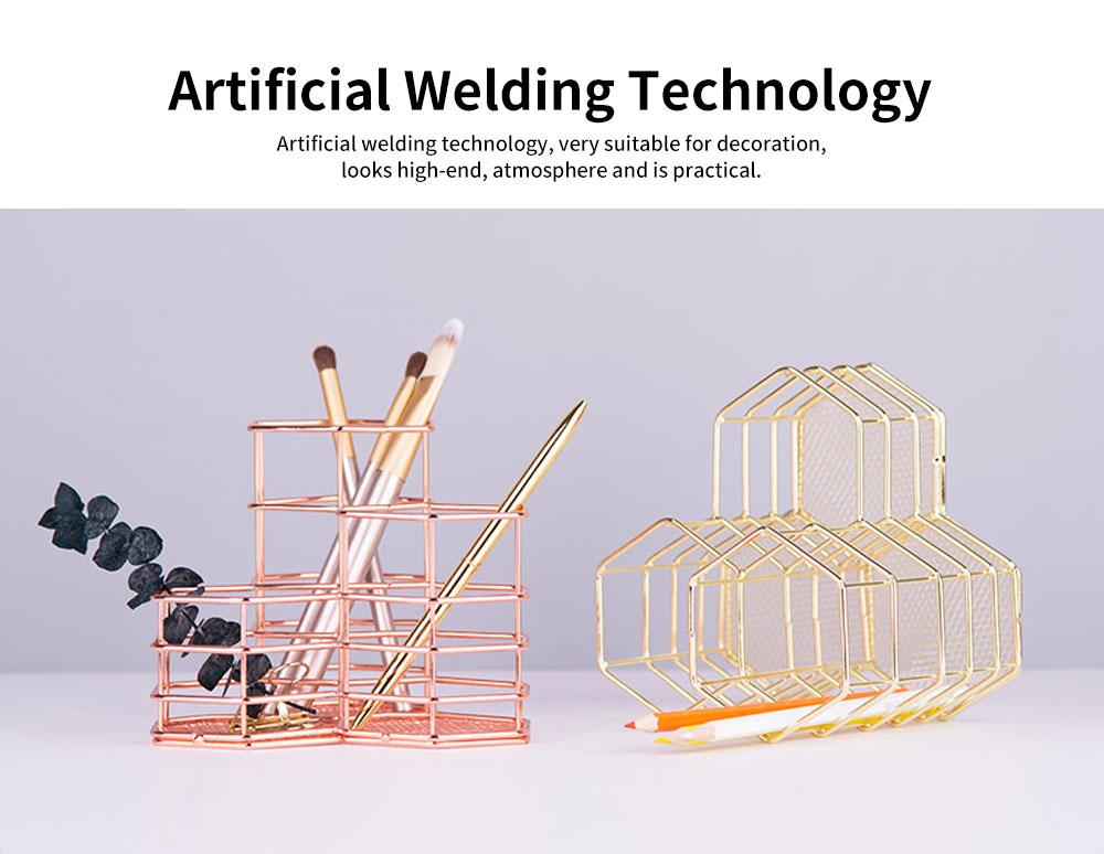 Metal Wire Hexagon Shelves, Desktop Storage Book Rack Penholder 3