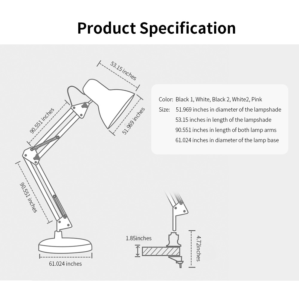 Led Folding Desk Lamp With Long Arm, Eye-Caring Reading  Household, Dormitory Bedside, Desk Luminaire 7