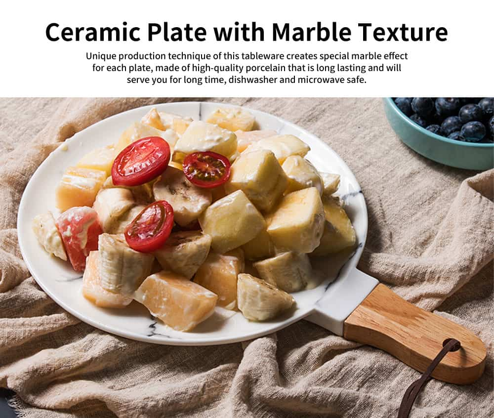 Marble Texture Round Ceramic Plate, Nordic Style Food Dish for Fruit, Salad, Beef 0