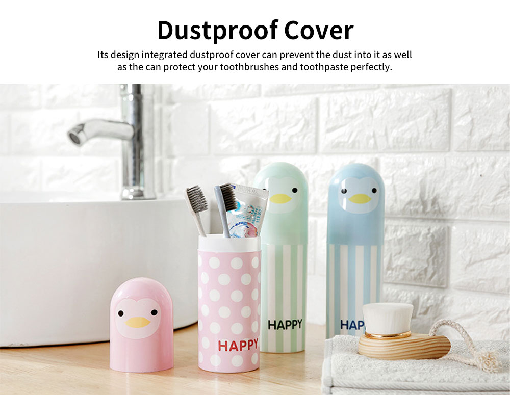 Cartoon Travel Toothbrush Box, Cute Penguin Toothbrush Travel Containers 4