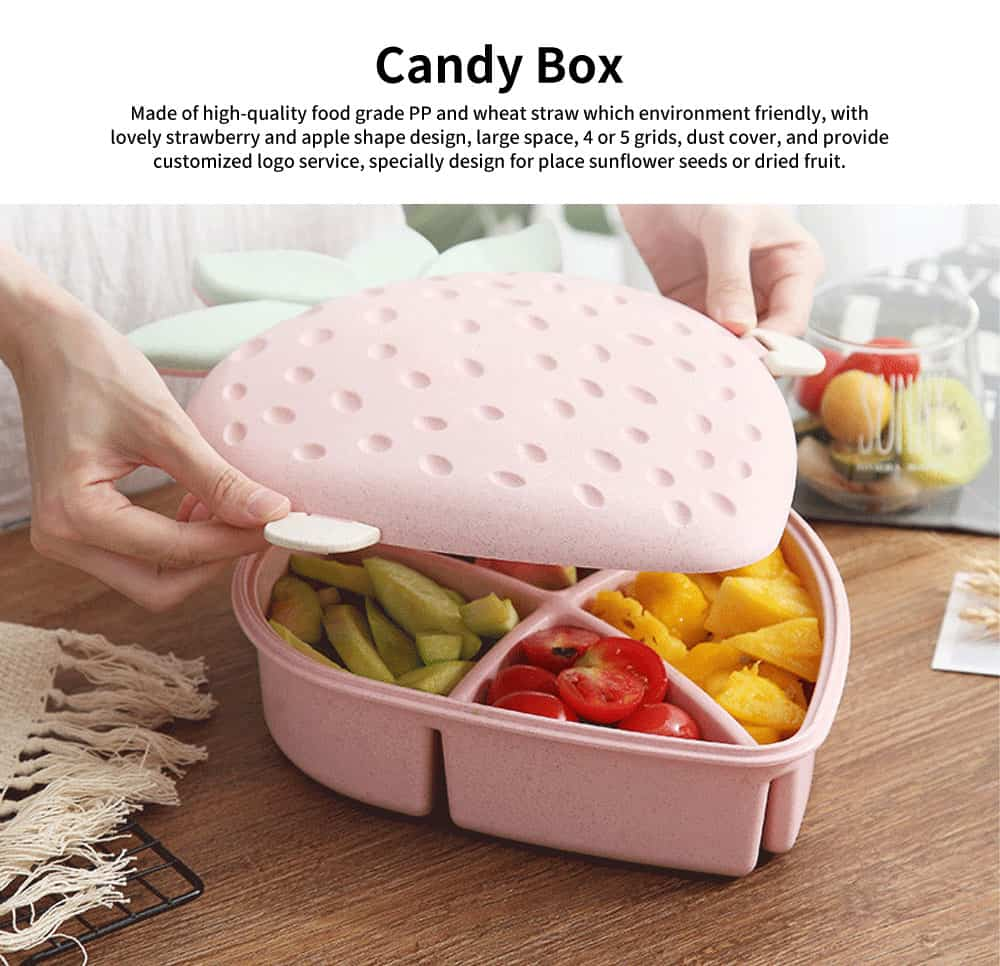 Plastic Snack Containers With Lids, Strawberry And Apple Shape Candy Box 0