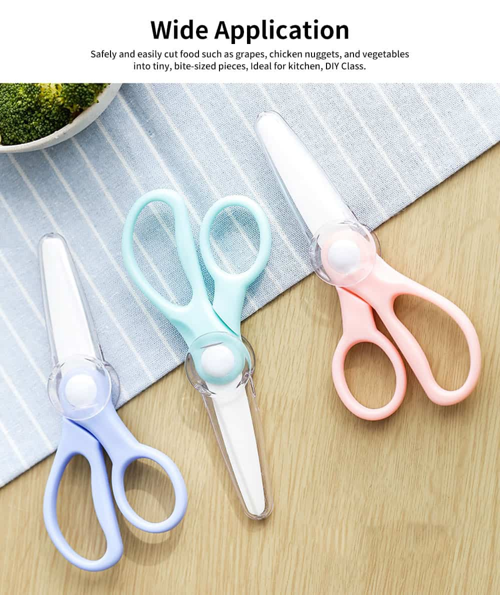 Ceramic Baby Food Scissor, Healthy Kitchen Scissor Cutter with Plastic Cover 5
