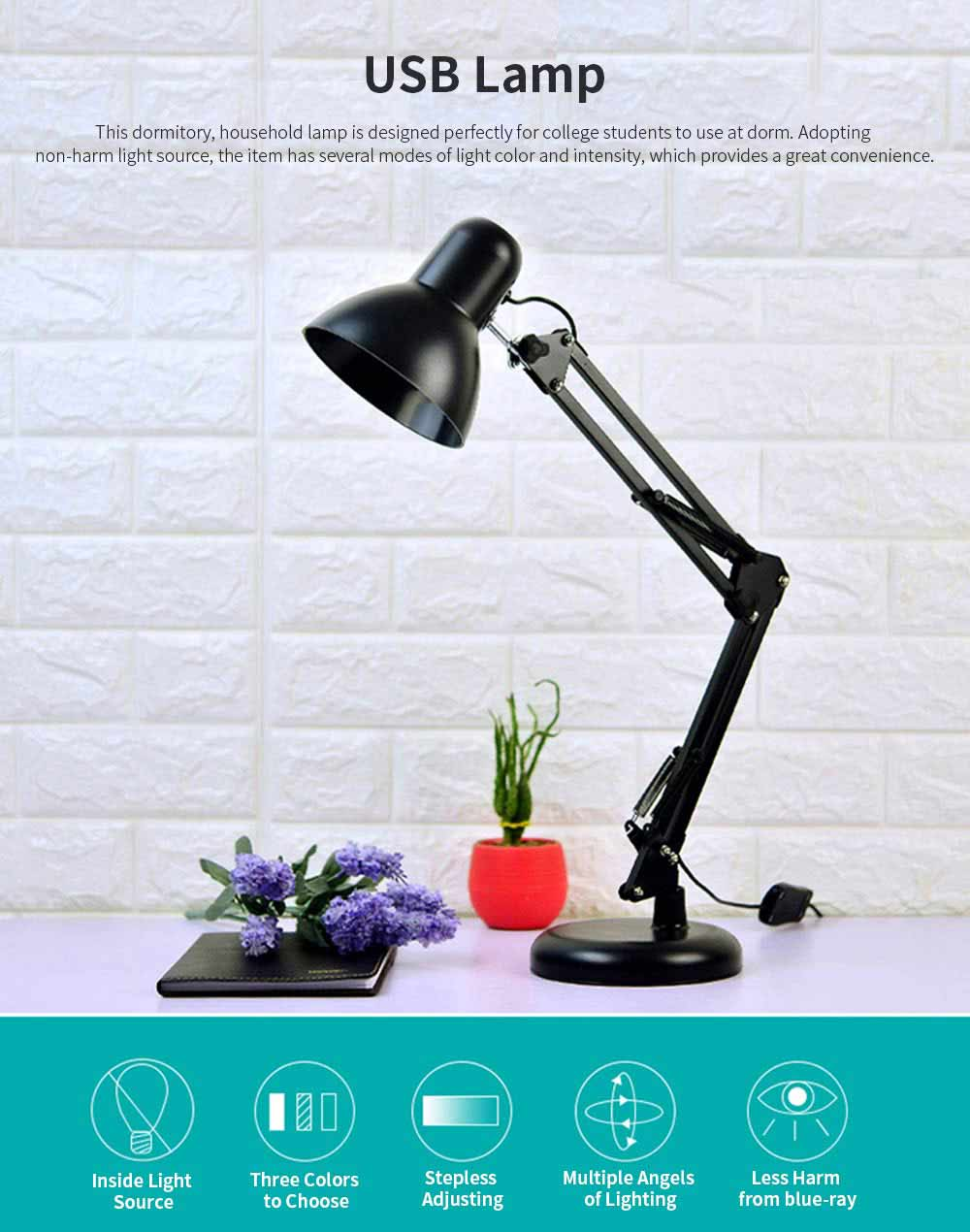 Led Folding Desk Lamp With Long Arm, Eye-Caring Reading  Household, Dormitory Bedside, Desk Luminaire 0
