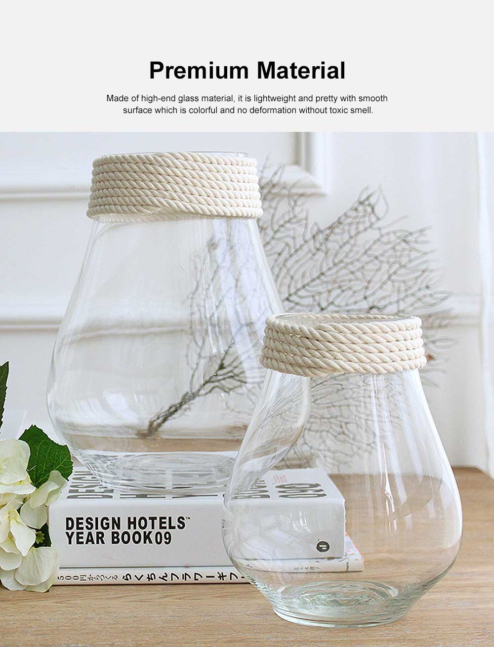 Transparent Glass Vase With Hemp Rope, Household Furnishings Decorative Vase 1