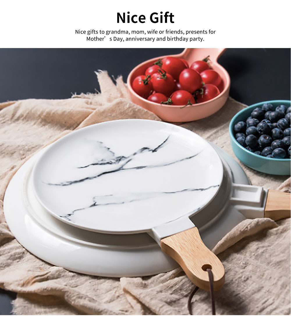 Marble Texture Round Ceramic Plate, Nordic Style Food Dish for Fruit, Salad, Beef 4