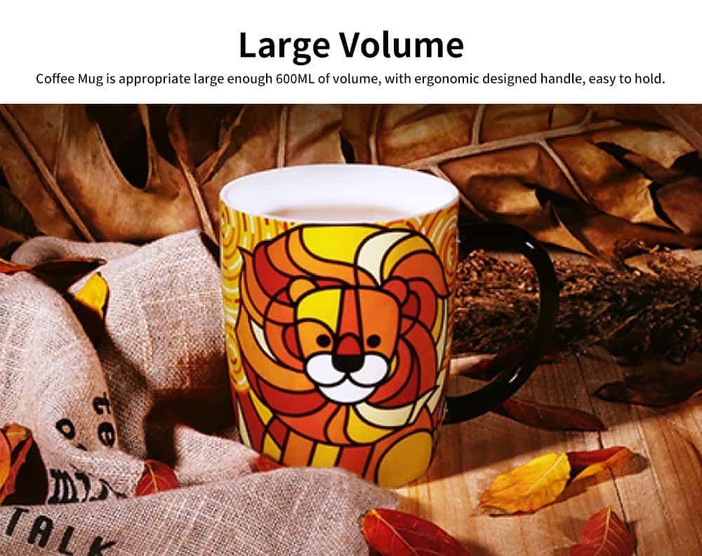 Animal Print Mugs, High Capacity Ceramic Tea Mug With Spoon 3