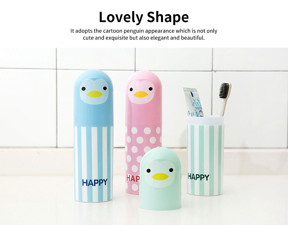 Cartoon Travel Toothbrush Box, Cute Penguin Toothbrush Travel Containers 1