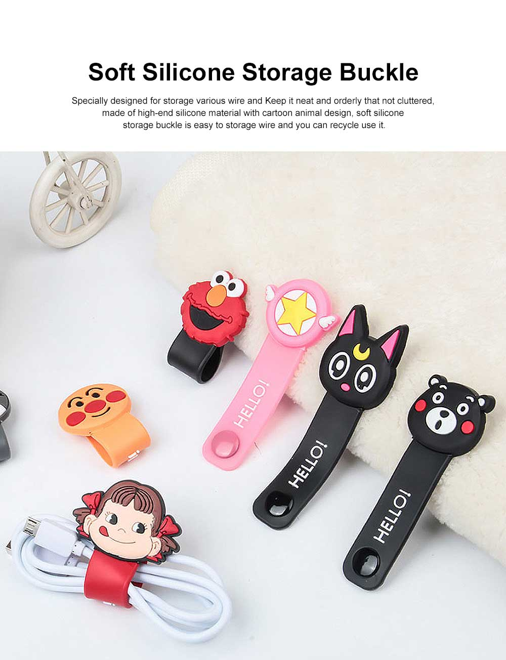 Soft Silicone Wire Cable Organizer, Cartoon Animals Line Manager for Data Cable 0