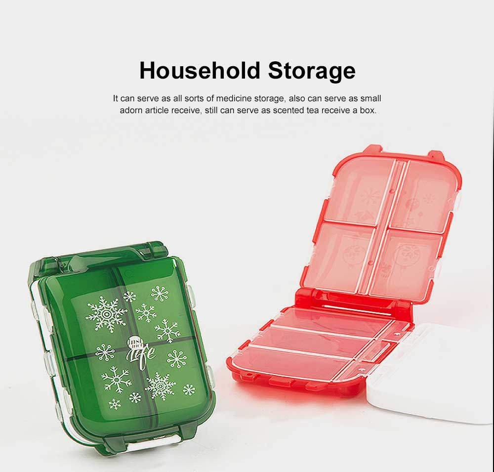 Christmas Pill Boxes, 3-Layer 8-Grid Mini Weekly Pill Case, Pack of 2 5