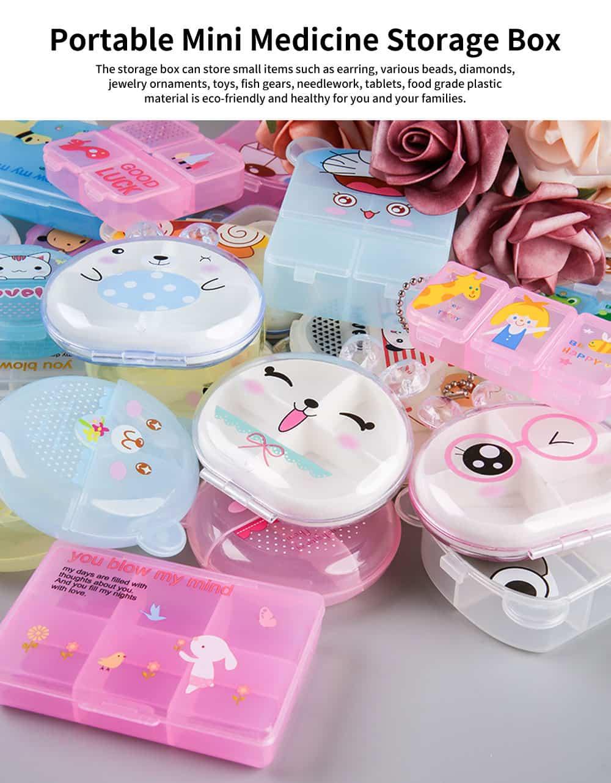 Cartoon Pill Box for Girls Cute Vitamin Storage Supplement Case 0