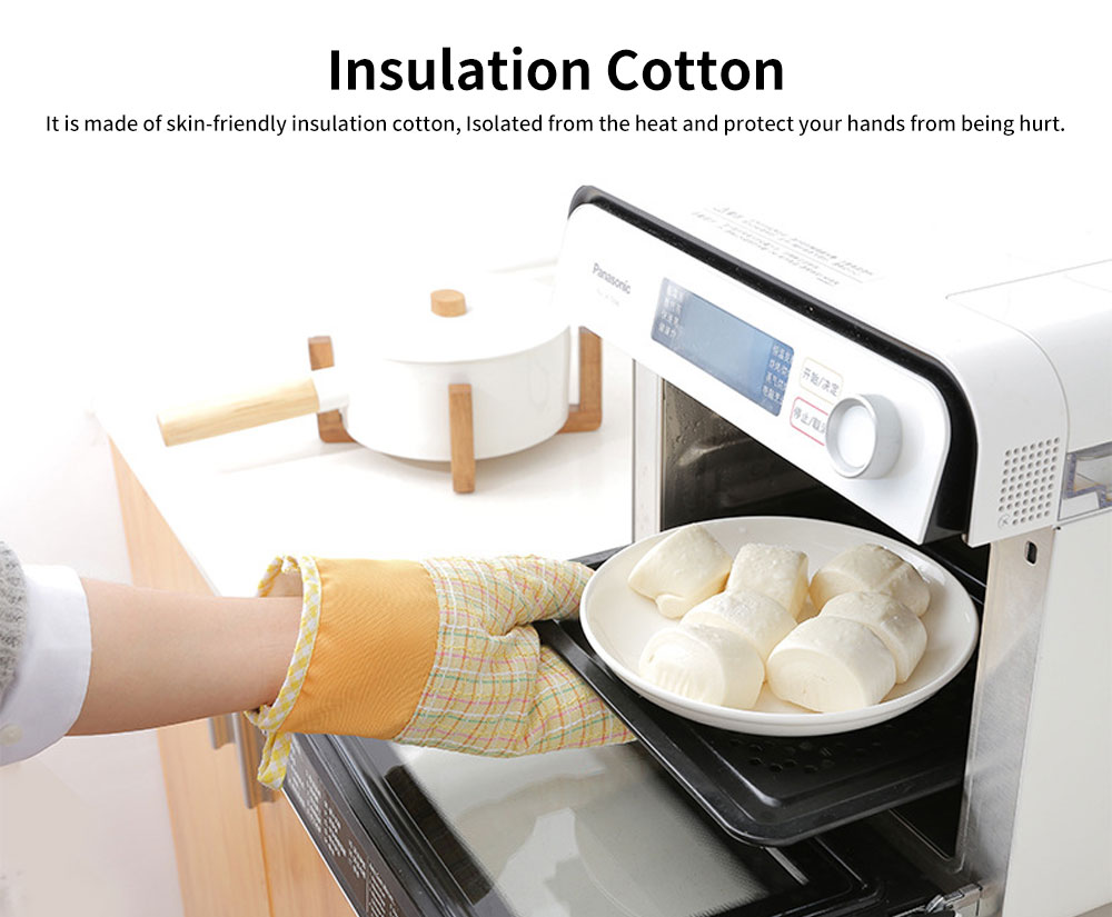 Cotton Microwave Oven Gloves, Heat Insulating Gloves with Gorgeous Plaid 5