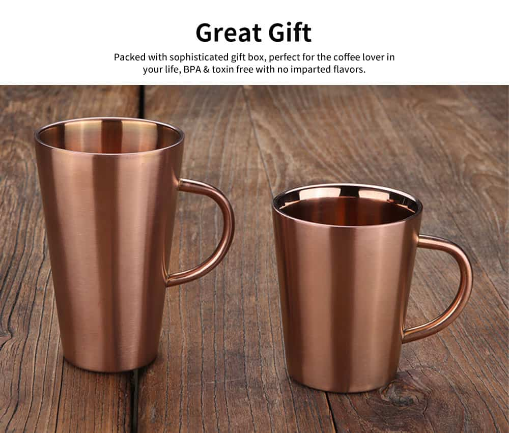 European Style Stainless Steel Mug with Double heat Insulation, Stylish Cup for Beer, Coffee, Milk, Cold Juice 5