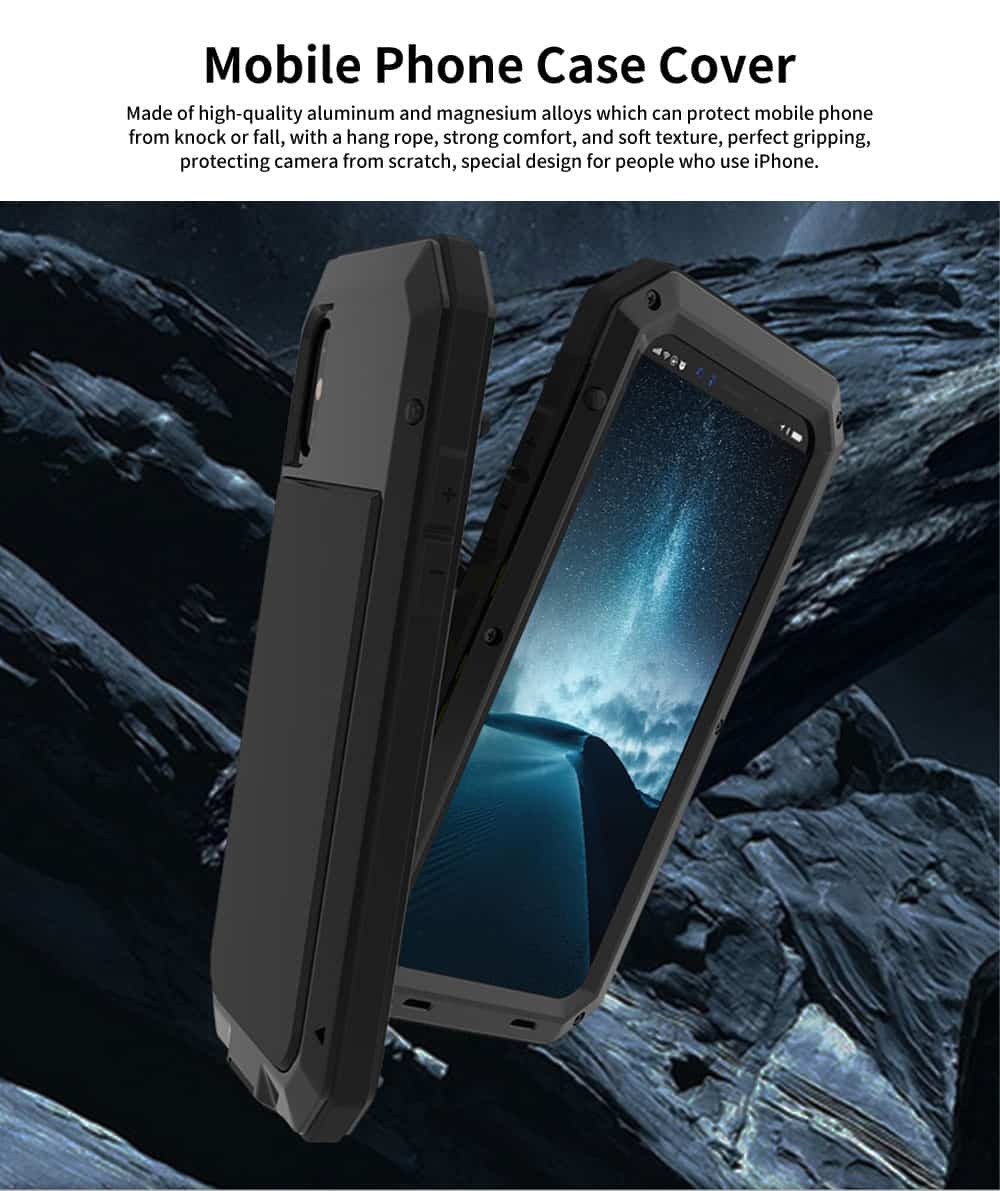 Alloy Phone Case With Cushioning Soft Layer And Carbon Fiber Tempered Glass For IPhone 0