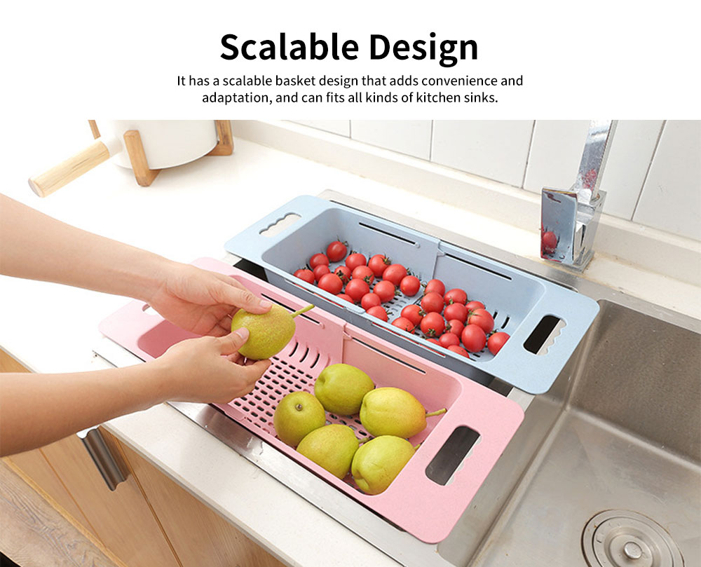 Scalable Drain Basket, Wheat Straw Hollow-out Fruit Basket 2