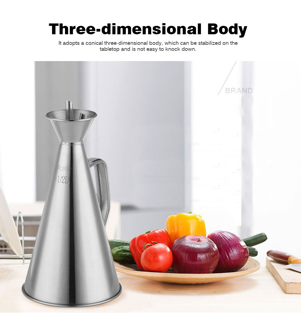 Stainless-steel Oil Can, Soy Sauce Bottle with Long Leak-proof Spout 1