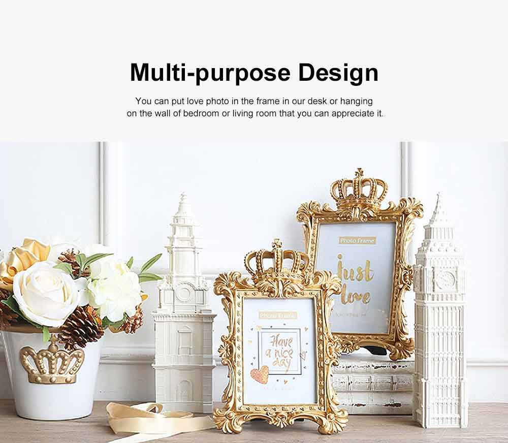 Crown Shaped Picture Frames, Rectangle Bachelor Style Wall Hanging/Desktop Photo Frame 6