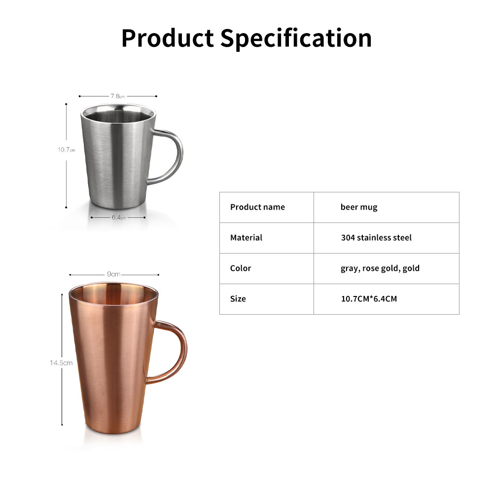 European Style Stainless Steel Mug with Double heat Insulation, Stylish Cup for Beer, Coffee, Milk, Cold Juice 6