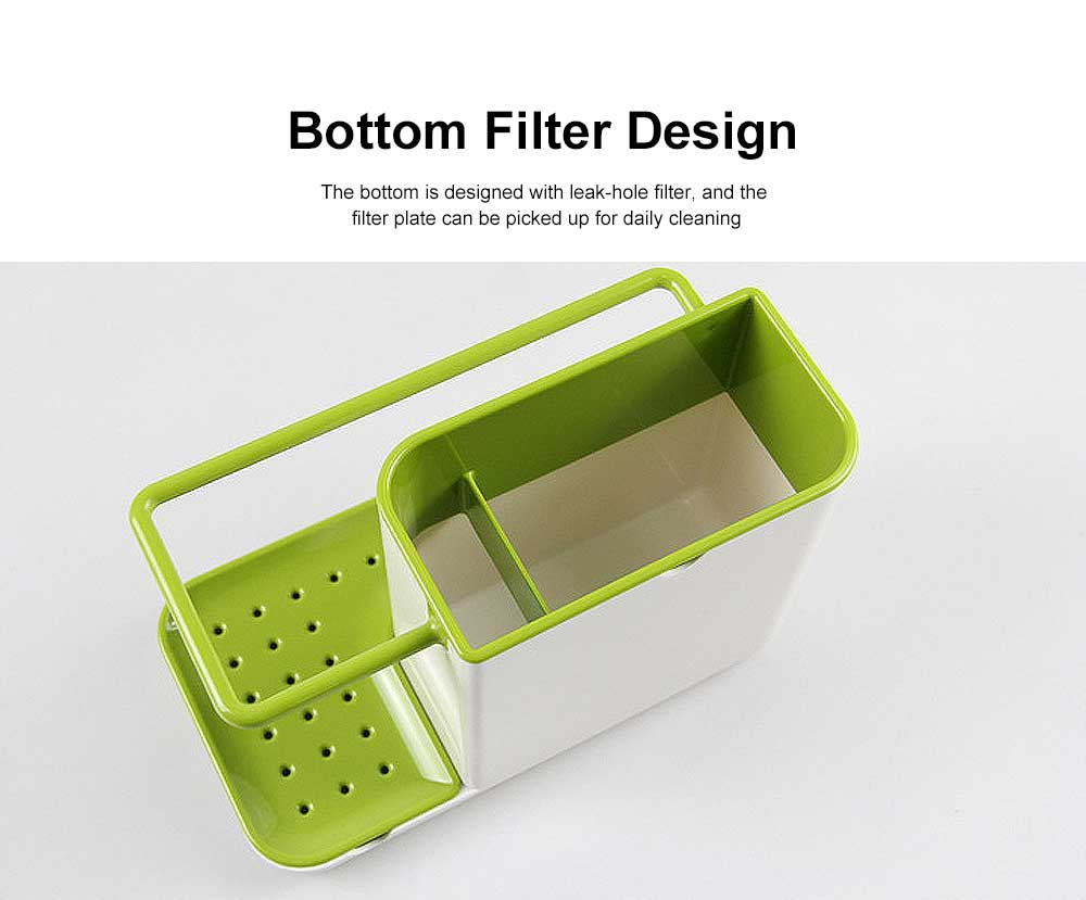 Sink Storage Rack for Sponge Pan Brush Storage, Kitchen Rack with Filter Hole & Anti-skid Bottom 4