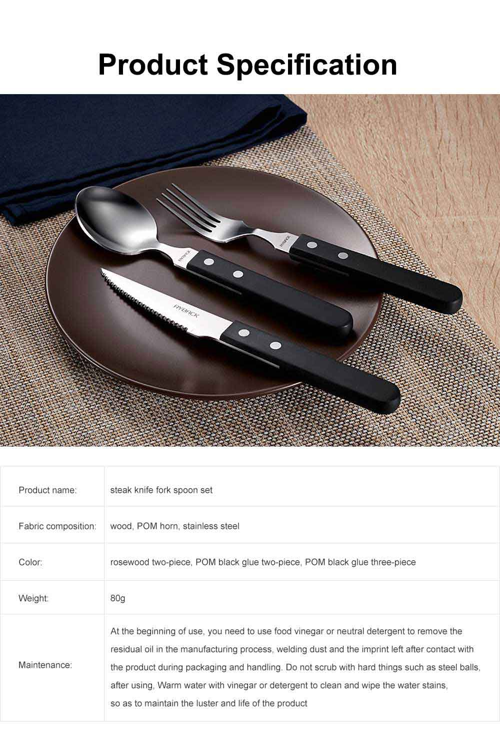 Steak Knife and Fork Set with Wooden Handle, 3PCS Stainless Steel Cutlery, Western Knife and Fork Spoon 7