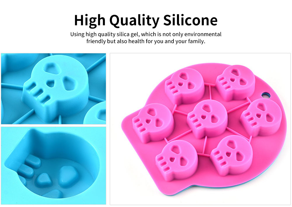 Silicone Skull Ice Cube Mold, Creative and Personalized Ice Cube Tray with 7 Grids 2