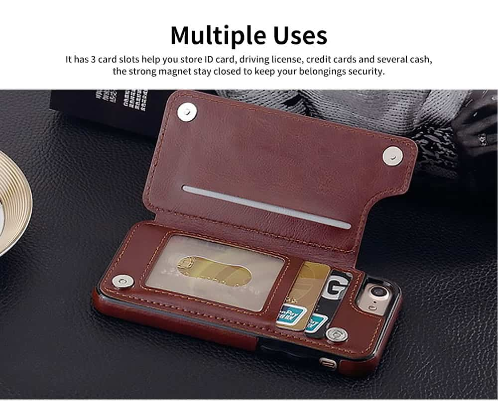 Multifunctional Leather Phone Case with Card Slot, Smart Phone Cover Case for iPhone XR, Max 7/8 4