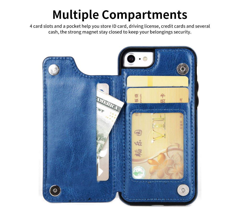 Multifunctional Leather Phone Case with Card Slot, Smart Phone Cover Case for iPhone XR, Max 7/8 3