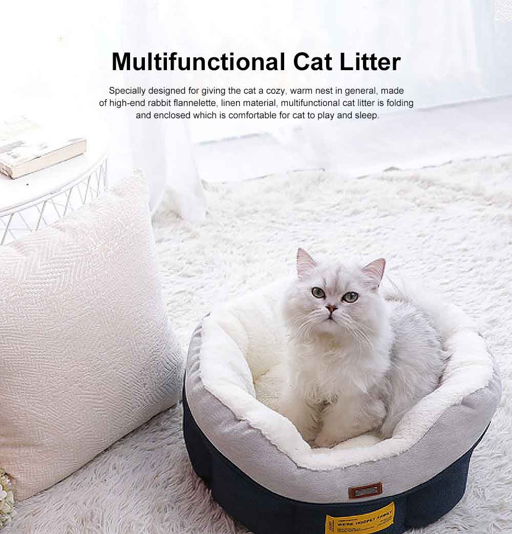 Cat Beds For Indoor Cats Washable, Multifunctional Cat Litter With  0