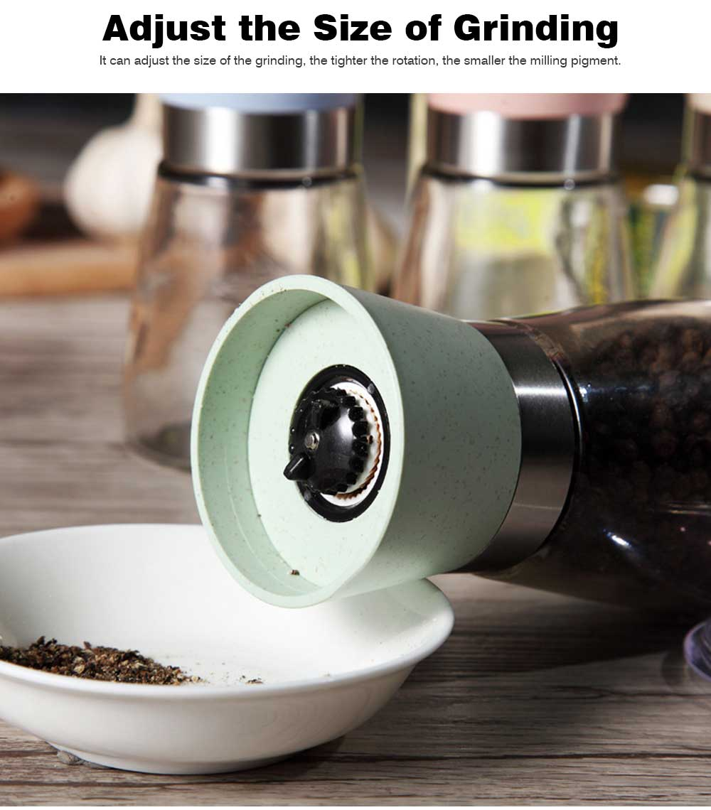 Manual Pepper Grinder, Glass Pepper Mill Seasoning Bottle with Ceramic Grinding Core 8