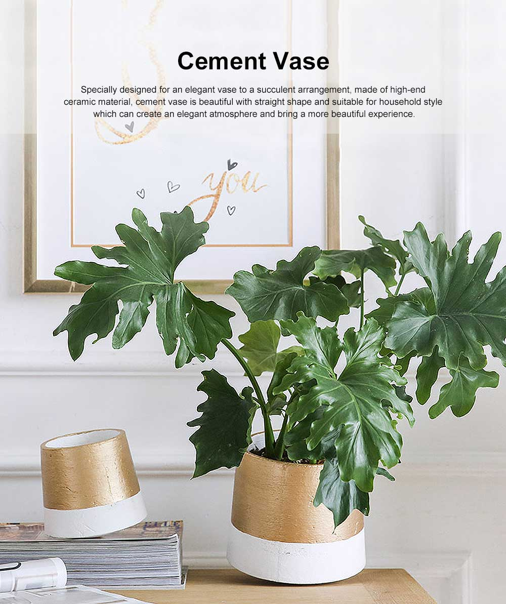 Cement Flower Vase, Rotating Flower Arrangements with Cement Glaze & Bright Color 0