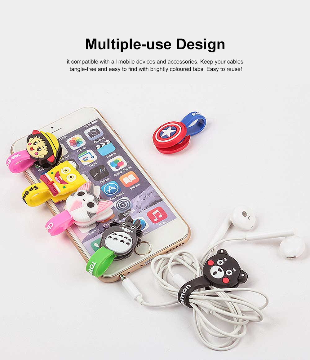 Soft Silicone Wire Cable Organizer, Cartoon Animals Line Manager for Data Cable 1