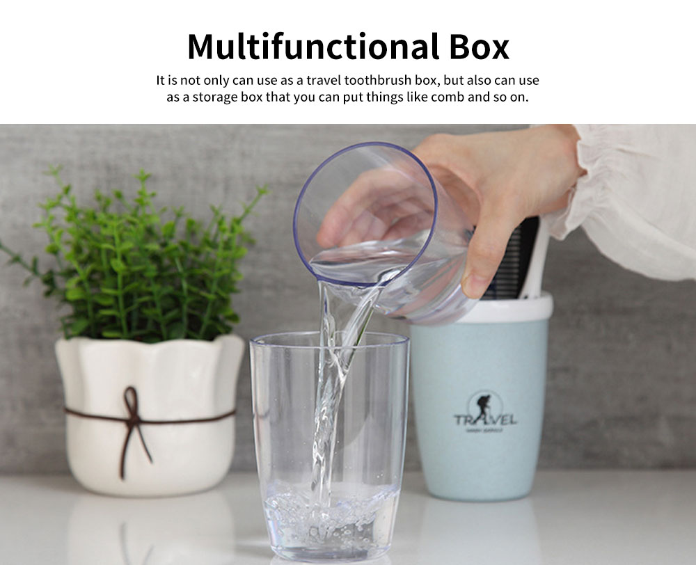 Wheat Straw Toothbrush Box, Toothbrush Travel  Container with A Transparent Cup 5