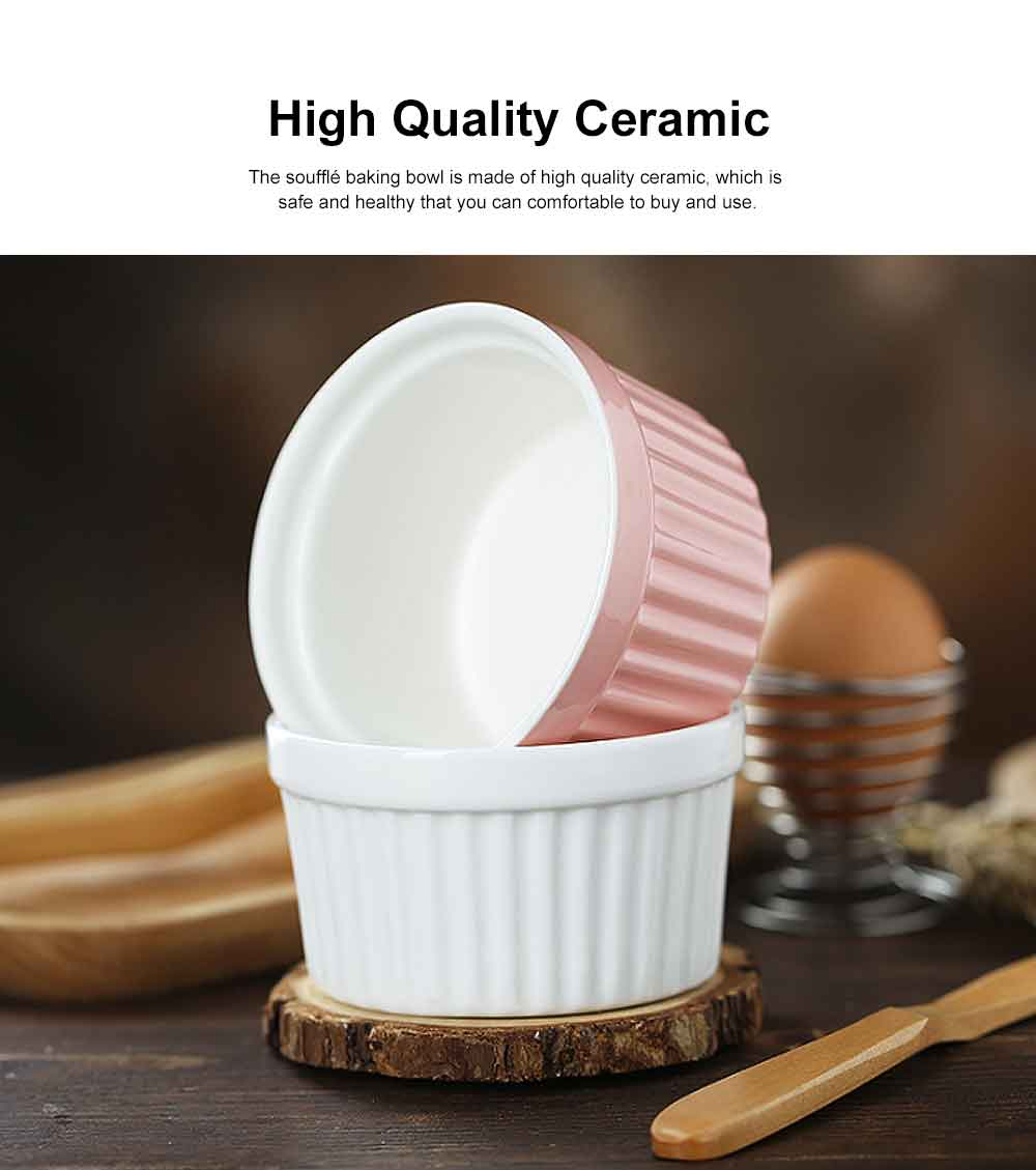 Round Ceramic Baking Cup, High Temperature Resistant Pudding Cup, Durable Souffle Baking Bowl 1