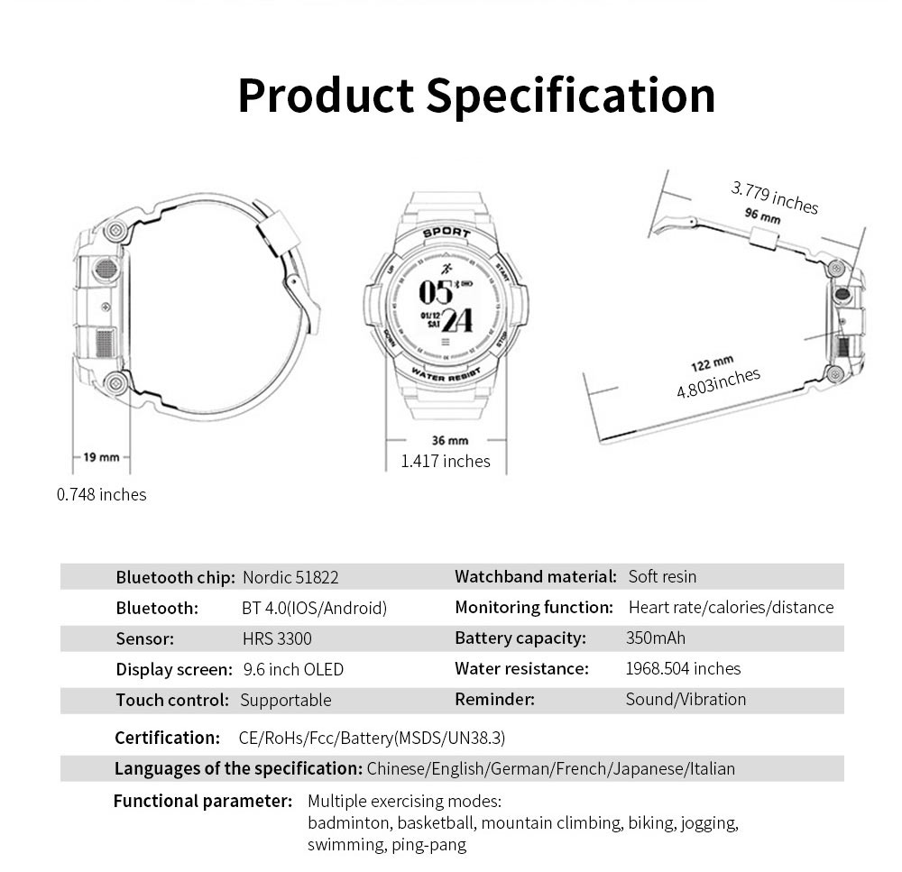 Latest Smart Watch 2019 With Bluetooth function For Android and IOS, Support for Movement and Heart Rate Measurement 7