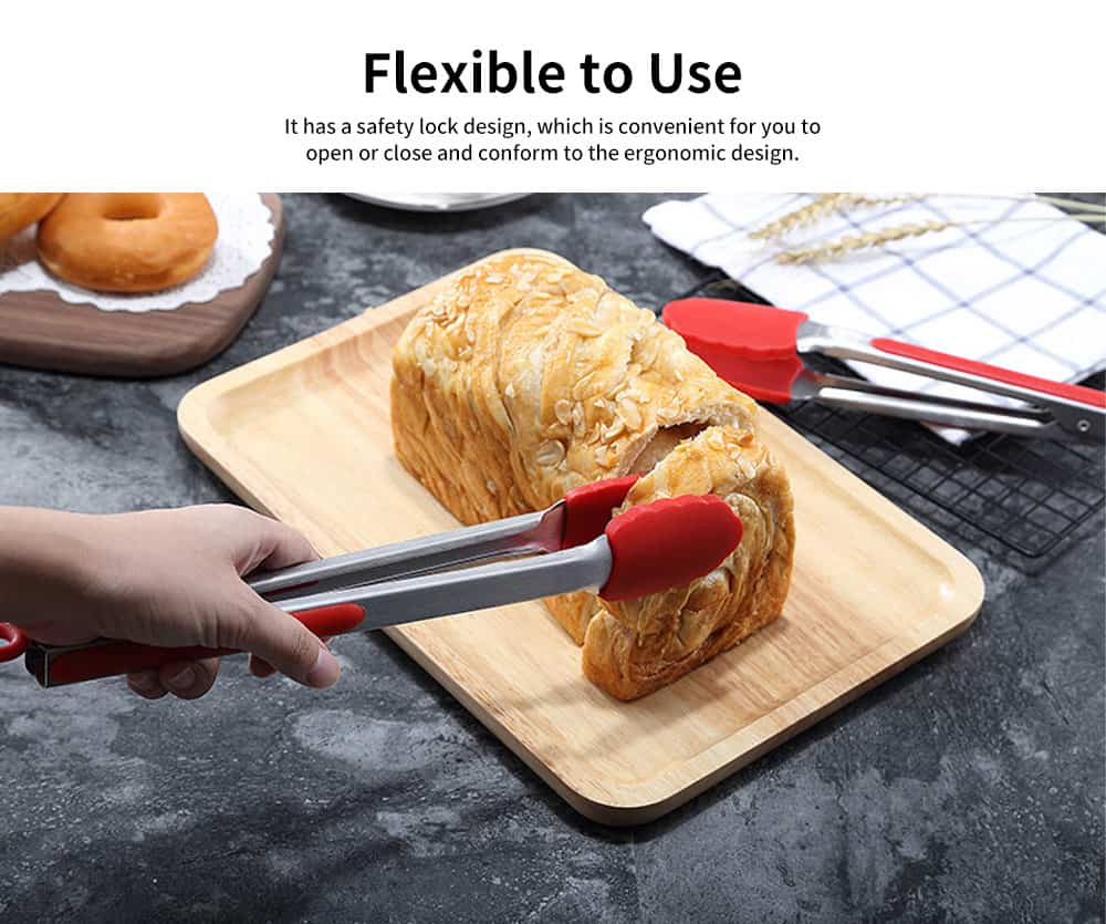 Stainless Steel Bread Tong, Cold and Heat Resistant Silicone Barbecue Folder, Food Clip 2