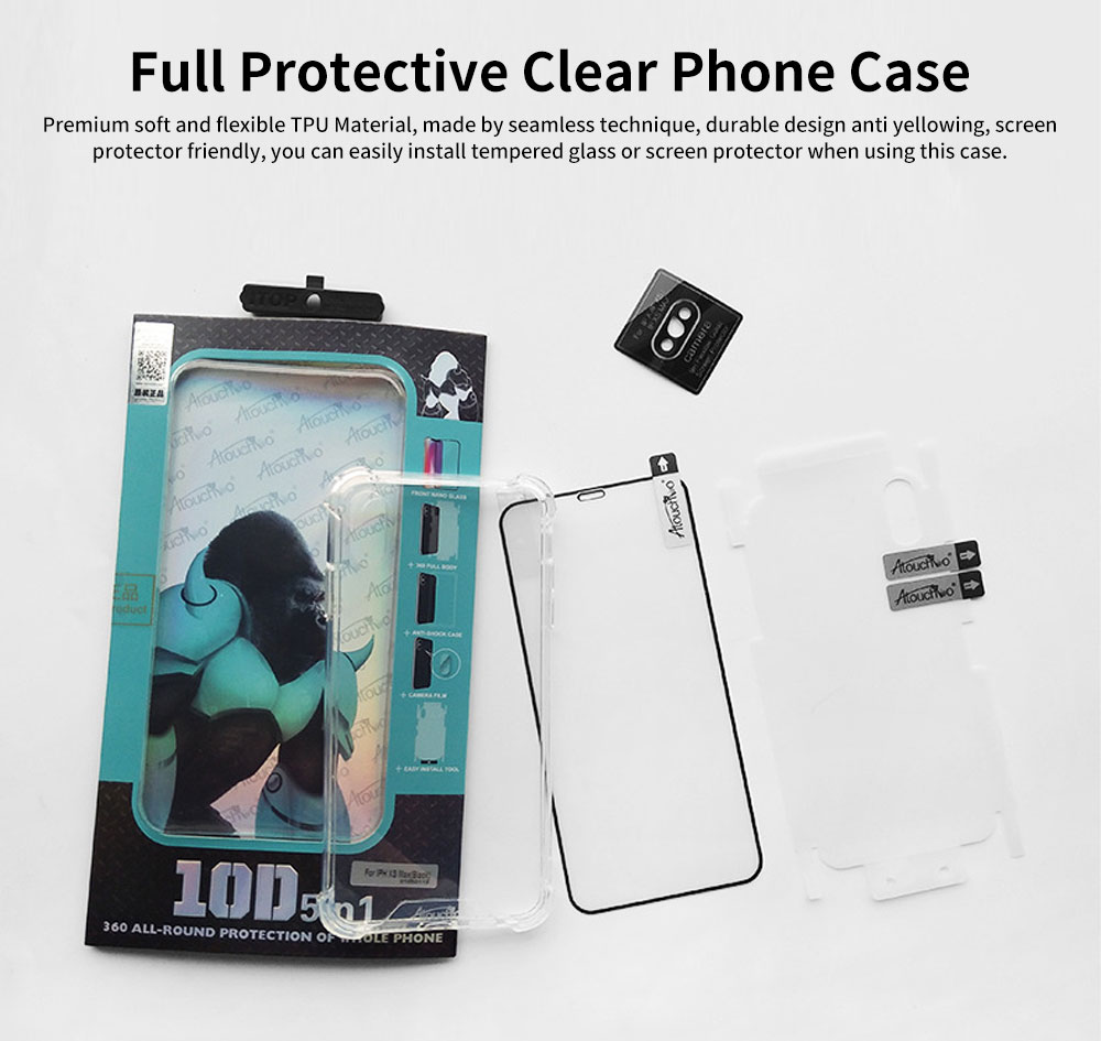 Heavy Duty Case with Soft TPU Bumper for iPhone, Full Protective Clear Phone Case 6