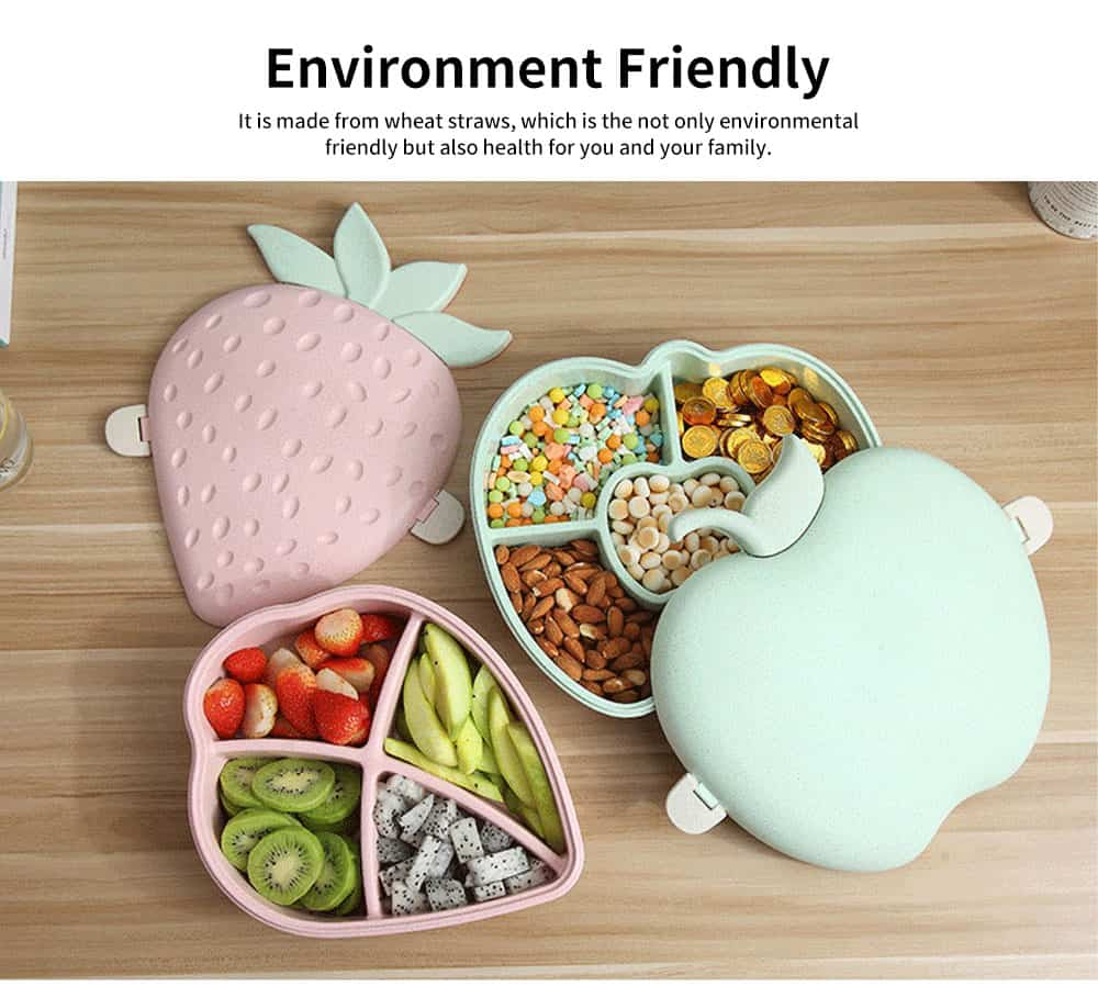 Plastic Snack Containers With Lids, Strawberry And Apple Shape Candy Box 5