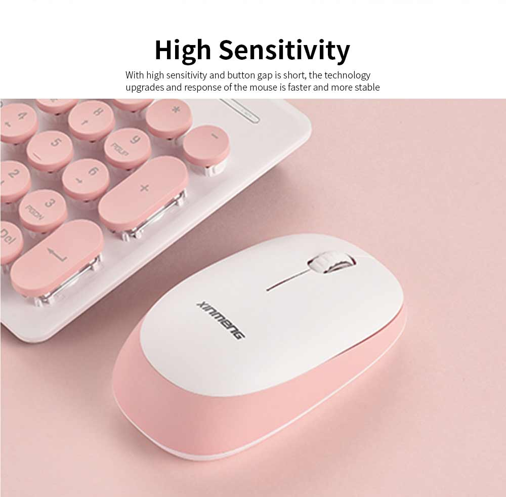 Punk Wireless Mechanical Keyboard and Mouse Set for Office Girl Women Computer 5