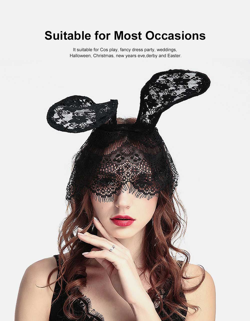 Women Lace Nightclub Party Headwear with Rabbit Ears Design, Headband for Costume Accessory 3