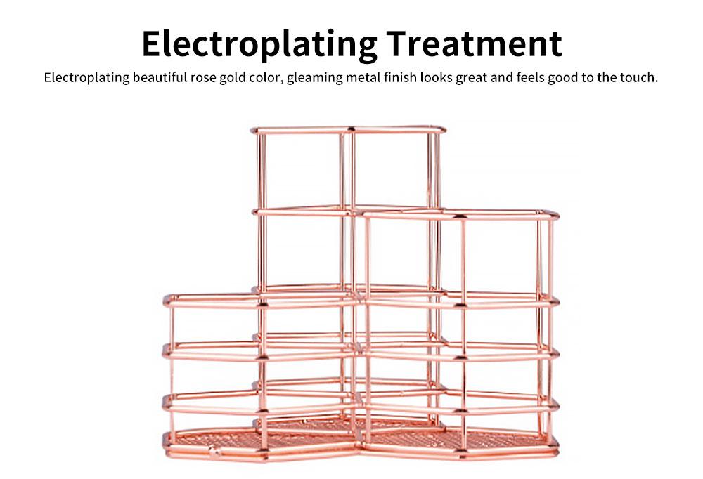 Metal Wire Hexagon Shelves, Desktop Storage Book Rack Penholder 2