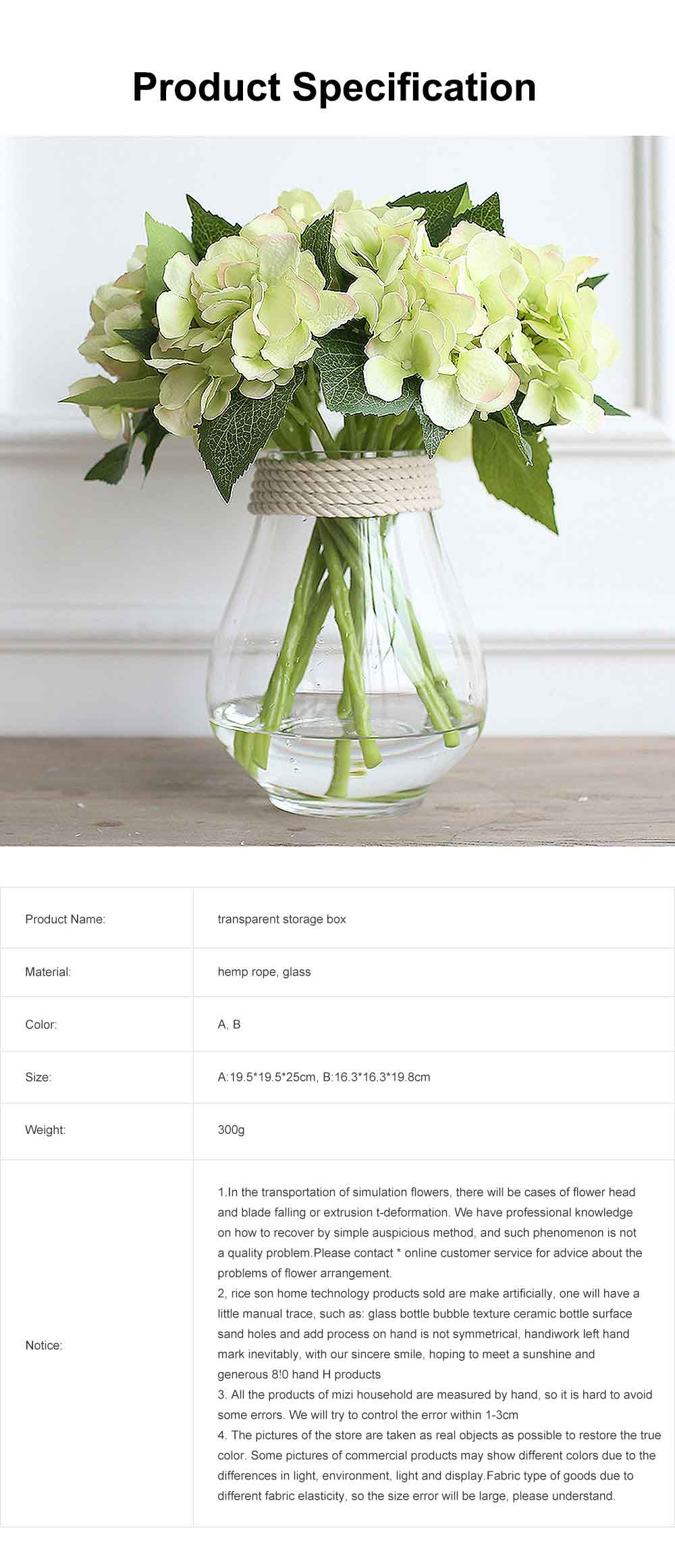 Transparent Glass Vase With Hemp Rope, Household Furnishings Decorative Vase 5