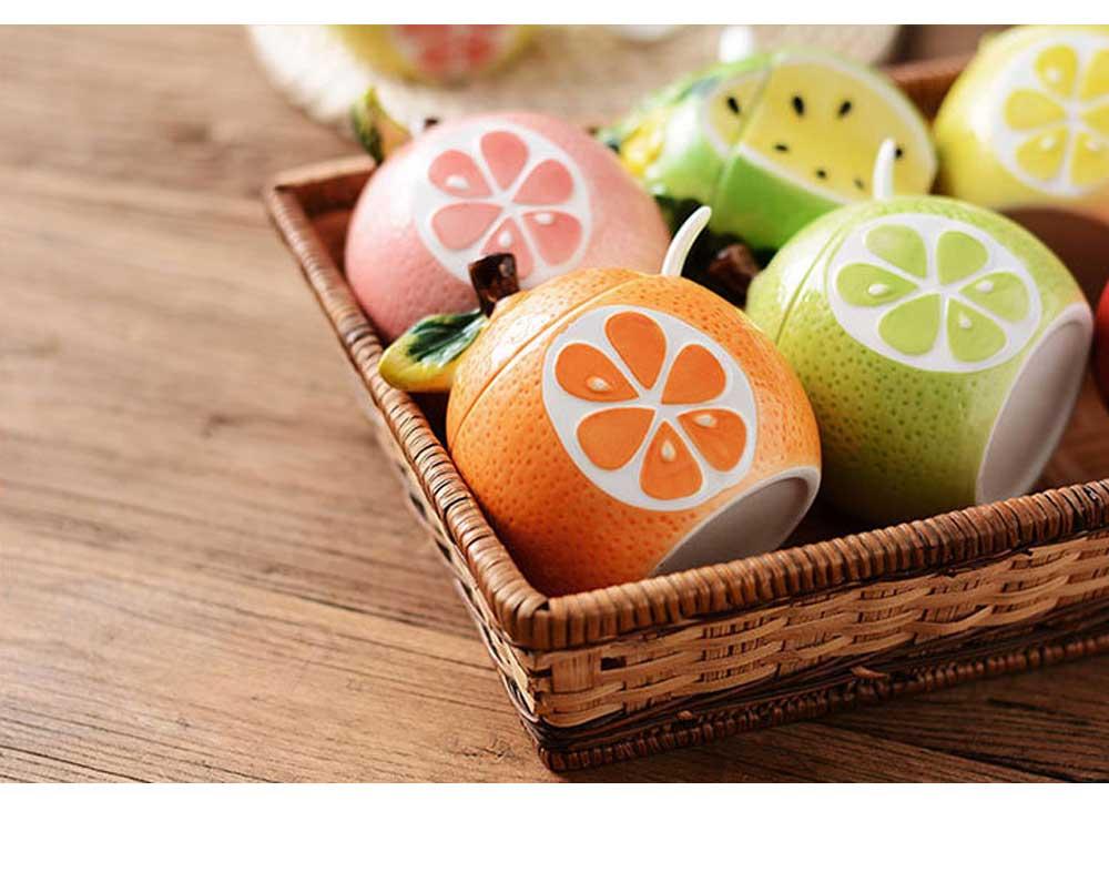 Ceramic Spice Jars With Lids, Cute Fruit Seasoning Jar For Placing Chili, Sugar, Salt 7
