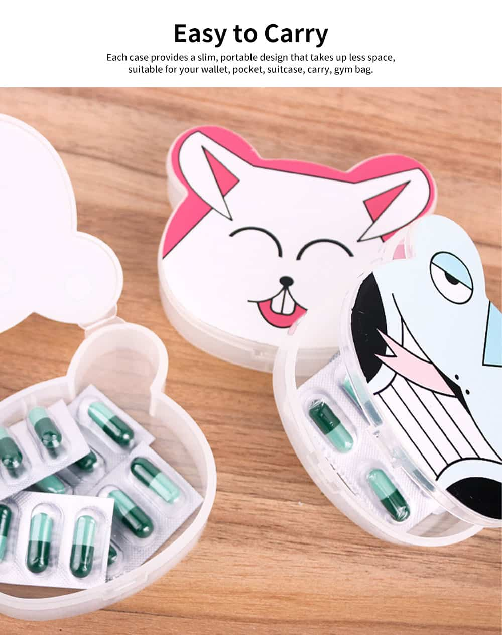 Cute Animal Pill Case Mini Cartoon Animal Pattern Pill Storage Box For Children 2