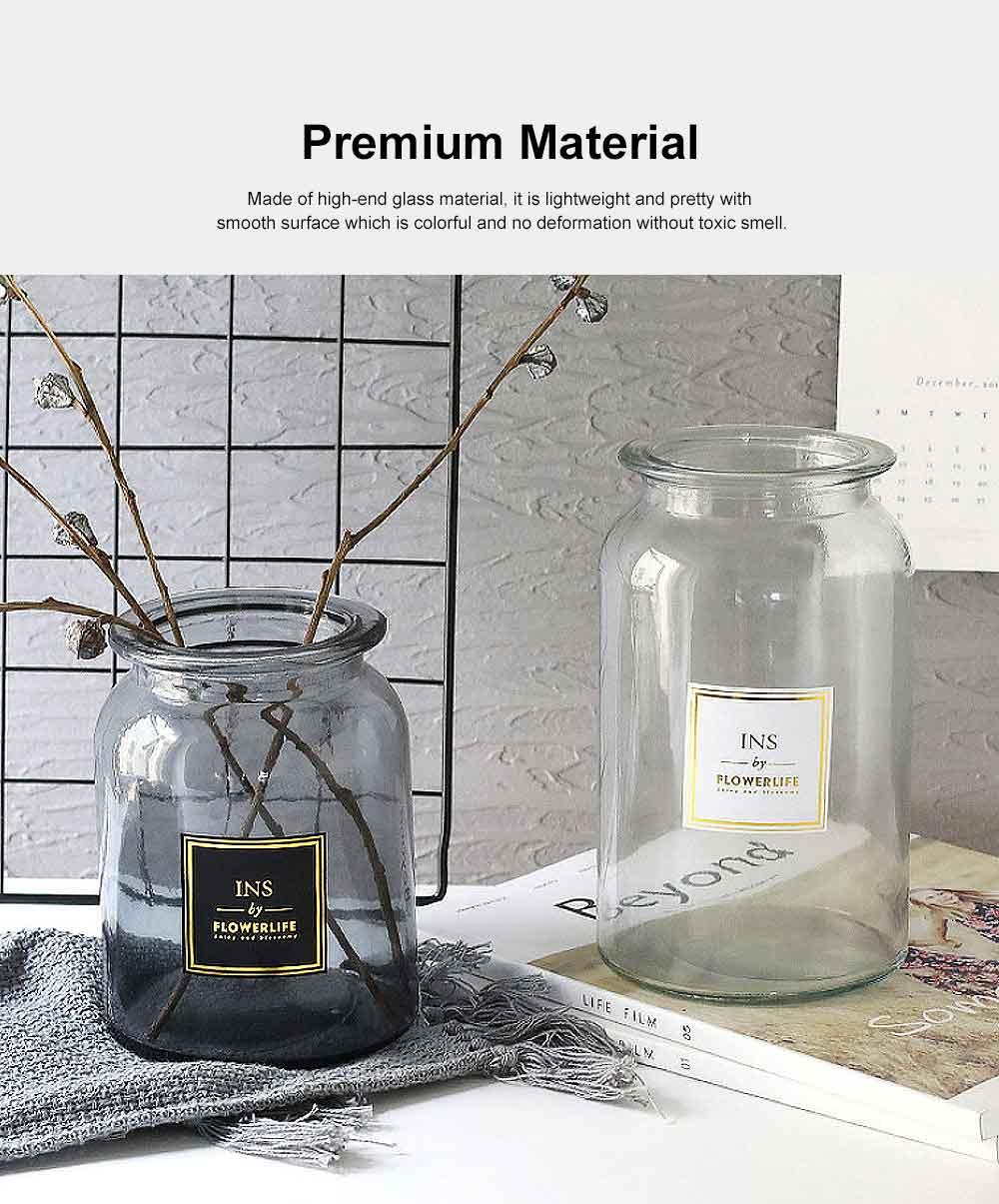 Transparent Glass Cylindrical Vase With Non-Slip Bottom 1