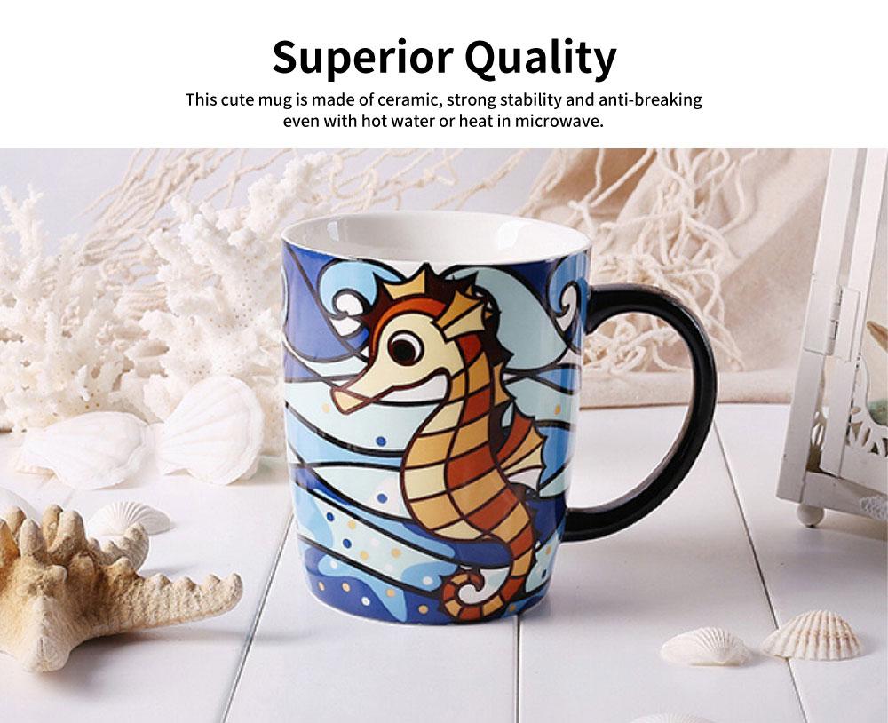 Animal Print Mugs, High Capacity Ceramic Tea Mug With Spoon 1
