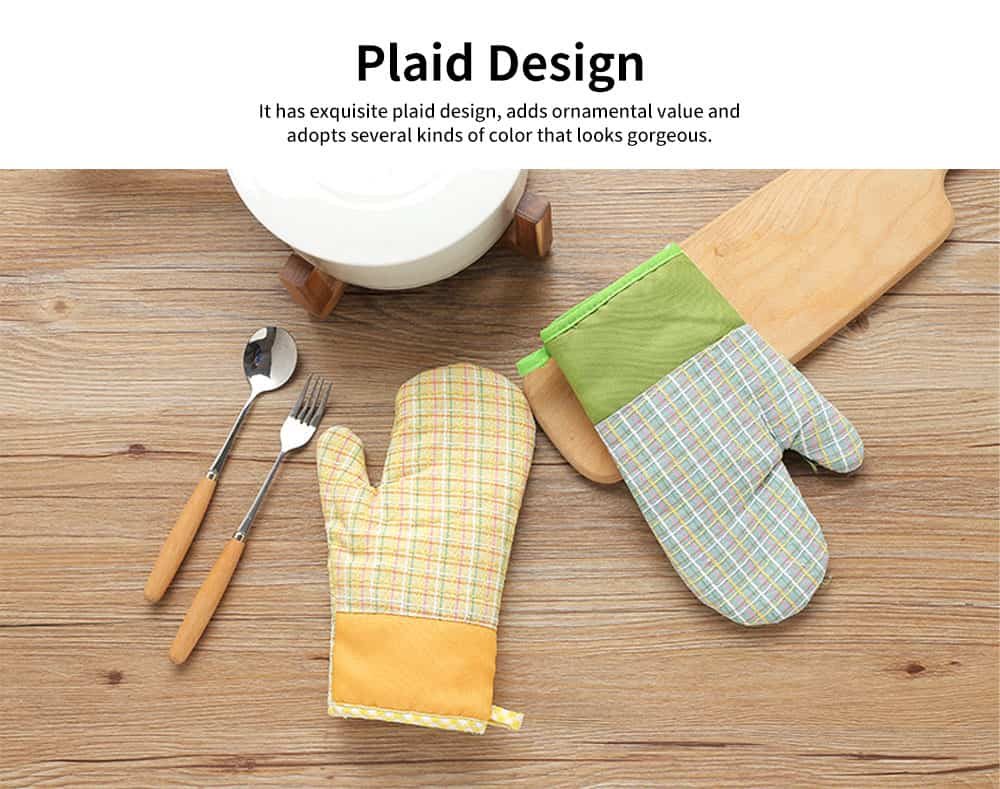 Cotton Microwave Oven Gloves, Heat Insulating Gloves with Gorgeous Plaid 2
