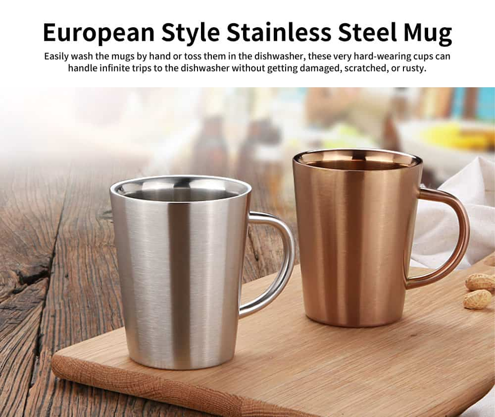European Style Stainless Steel Mug with Double heat Insulation, Stylish Cup for Beer, Coffee, Milk, Cold Juice 0