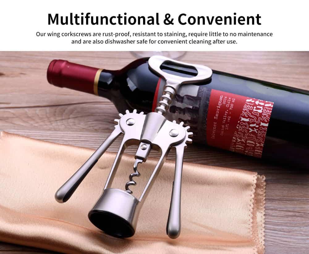Stainless Steel Wine Opener, Handle Pressure Multifunctional Corkscrew for Red Wine, Beer 2