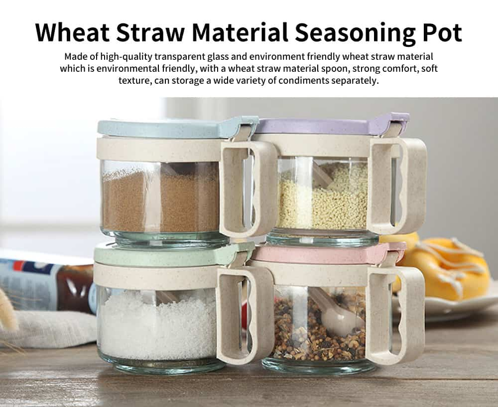 Wheat Straw Seasoning Pot, with Spoon for Various Condiments, Transparent Glass Cookware 0