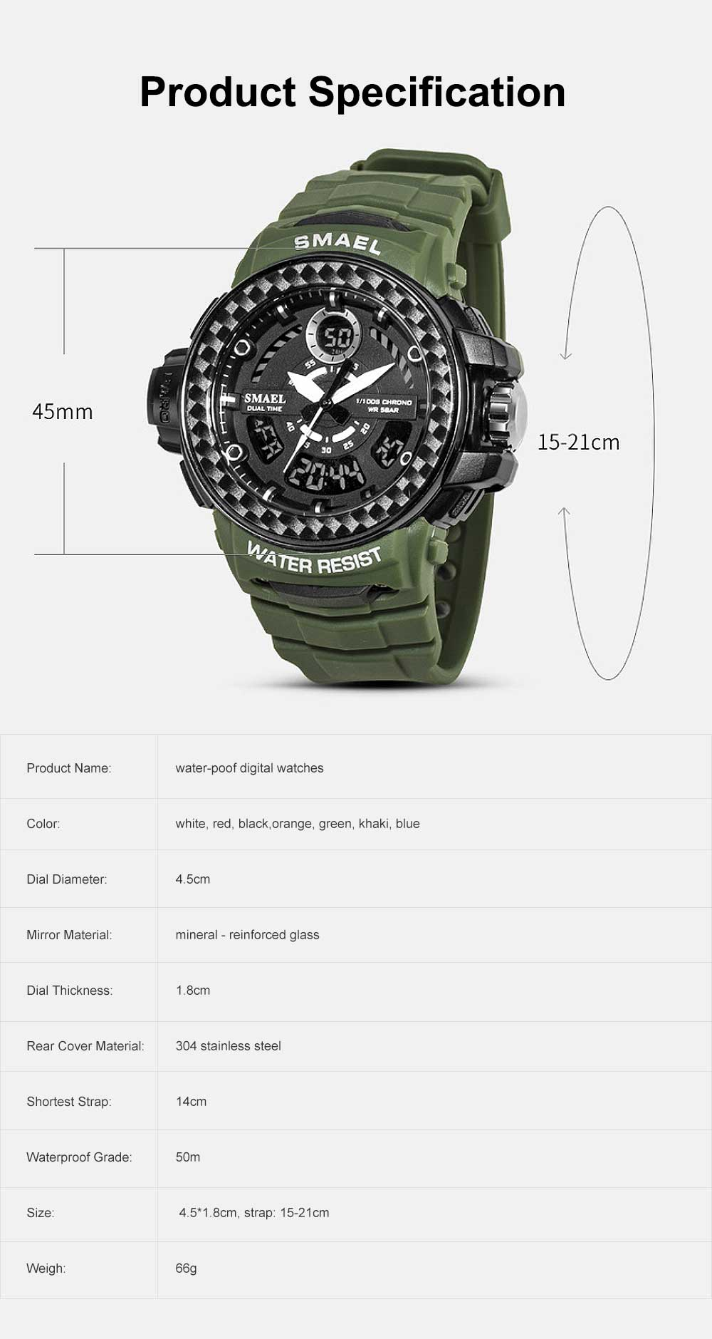 Digital Watches with Resin Strap Multifunctional Watch Supporting Luminous Mode 50 Meters Water-poof & Alarm Clock 6
