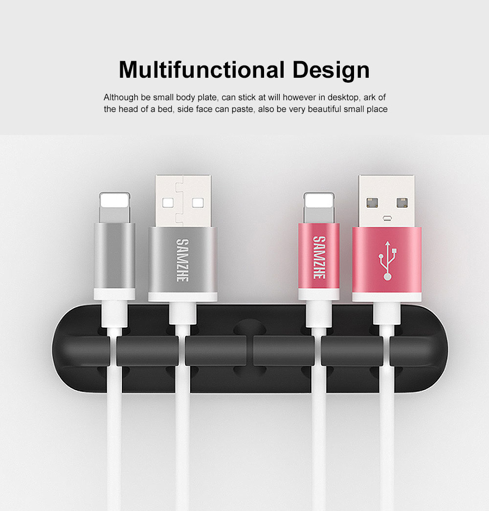 Adhesive Cable Organizer, Multifunctional Soft Silicone Thread Clip for Mobile Phone Charging Cable 2